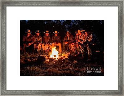 Ranch Campfire In Wyoming Framed Print