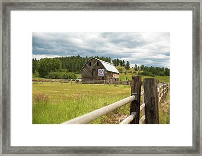 Ranch Fence And Barn With Hex Sign Framed Print