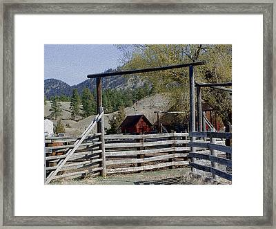 Ranch Fencing And Tool Shed Framed Print by Kae Cheatham