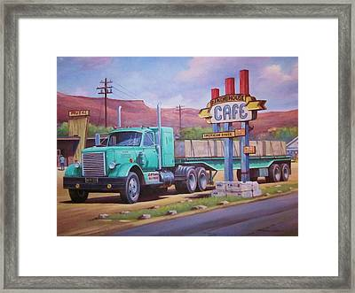 Framed Print featuring the painting Ranch House Truckstop. by Mike Jeffries