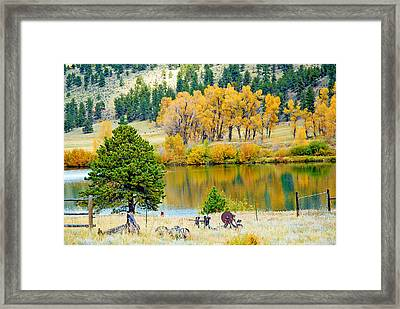 Ranch Pond In Autumn Framed Print