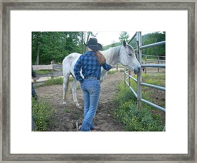Ranchhand With Horsey Framed Print by Beebe Barksdale-Bruner