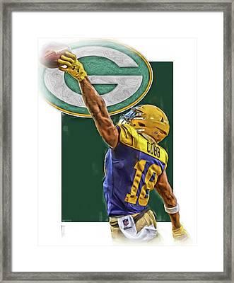 Randall Cobb Green Bay Packers Oil Art 2 Framed Print by Joe Hamilton