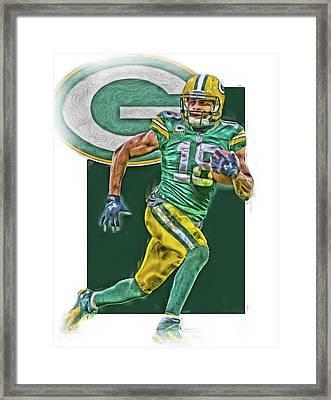 Randall Cobb Green Bay Packers Oil Art Framed Print by Joe Hamilton
