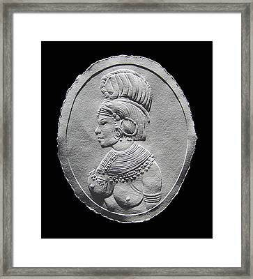 Randille Tribe Woman Relief Drawing Framed Print by Suhas Tavkar