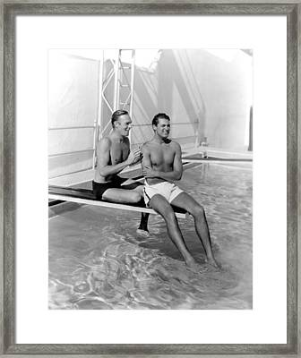 Randolph Scott And Cary Grant Poolside Framed Print