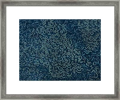 Random Curves - Blue Framed Print by David Ardil