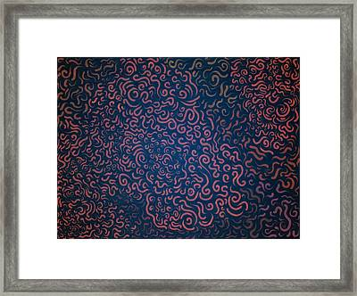 Random Curves - Red Framed Print