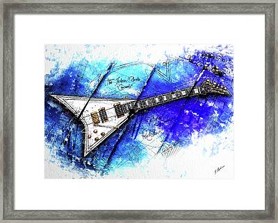 Randy's Guitar On Blue Framed Print