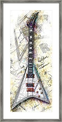 Randy's Guitar Vert 1a Framed Print by Gary Bodnar