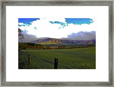 Range Neath The Mountain Framed Print by DigiArt Diaries by Vicky B Fuller
