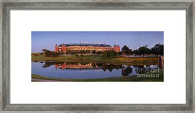 Rangers Ballpark In Arlington At Dusk Framed Print by Jon Holiday
