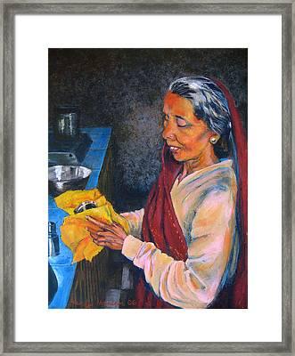 Rani The Cook Framed Print by Art Nomad Sandra  Hansen