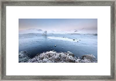 Framed Print featuring the photograph Black Mount Misty Winter Sunrise by Grant Glendinning