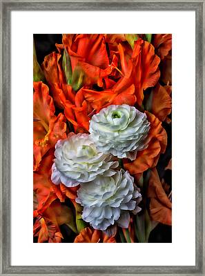 Ranunculus And Glads Framed Print by Garry Gay