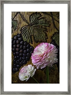 Ranunculus And Wine Barrel Carving Framed Print