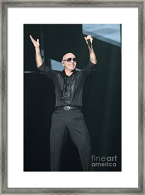 Rapper Pitbull Framed Print by Concert Photos