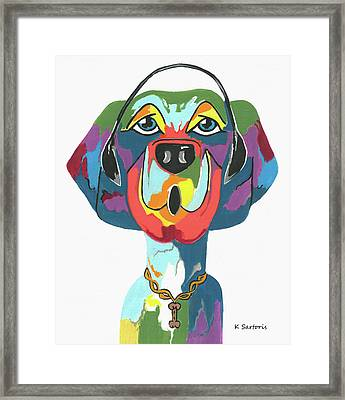Rapping Rover - Funny  Dog Framed Print