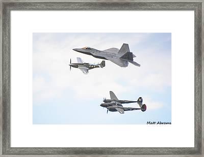 Raptor, Mustang And Lightning Framed Print by Matt Abrams