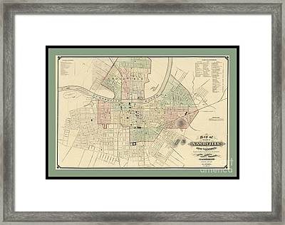 Rare Vintage Map Of Nashville Tennessee Framed Print by Pd