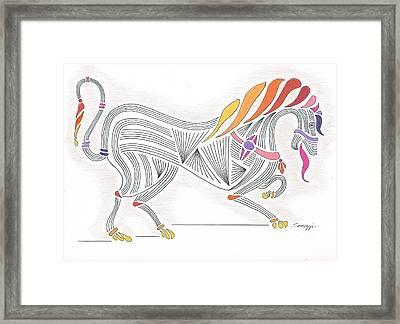 Rarin' To Go -- Stylized Medieval Prancing Horse W/ Rainbow Mane Framed Print