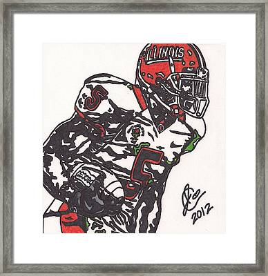 Framed Print featuring the drawing Rashard Mendenhall 1 by Jeremiah Colley