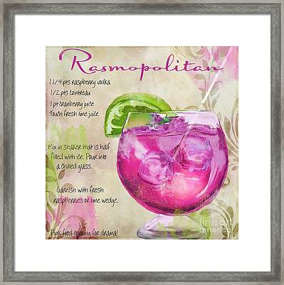 Rasmopolitan Mixed Cocktail Recipe Sign Framed Print by Mindy Sommers