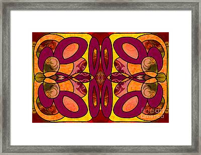 Raspberries And Peaches Abstract Art By Omashte Framed Print by Omaste Witkowski