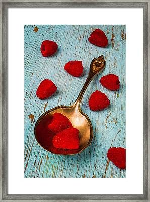 Raspberries With Antique Spoon Framed Print by Garry Gay