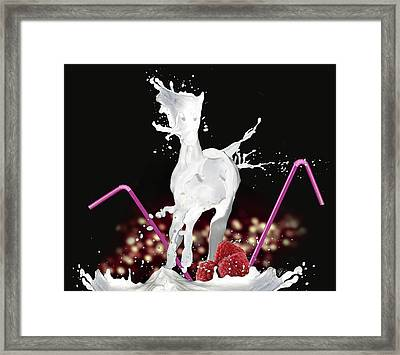 Raspberry Coctail And A Horse Framed Print