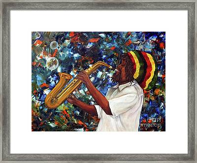 Framed Print featuring the painting Rasta Sax Player by Anna-maria Dickinson
