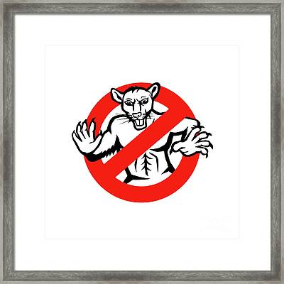 Rat Busted Stop Sign Retro Framed Print