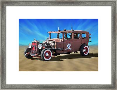Framed Print featuring the photograph Rat Rod On Beach 3 by Mike McGlothlen