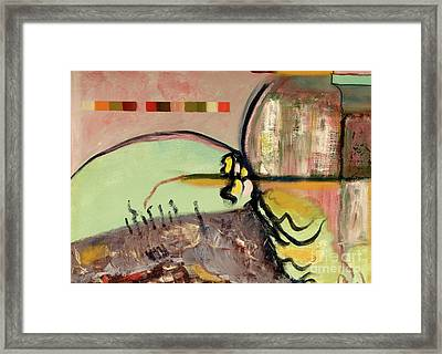 Framed Print featuring the painting Rational Thought Begins Here by Paul McKey