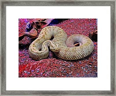 Rattlesnake In Abstract Framed Print