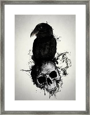 Raven And Skull Framed Print