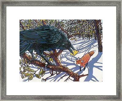 Raven And The Fox Framed Print
