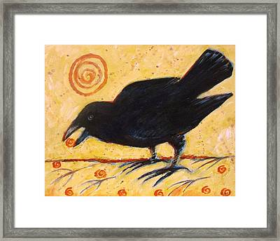 Raven Grazing Framed Print by Carol Suzanne Niebuhr