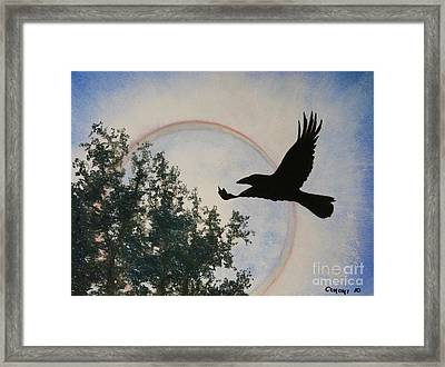 Framed Print featuring the painting Raven Holds The Sun by Stanza Widen