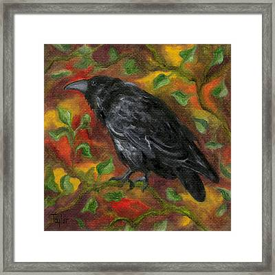 Raven In Autumn Framed Print