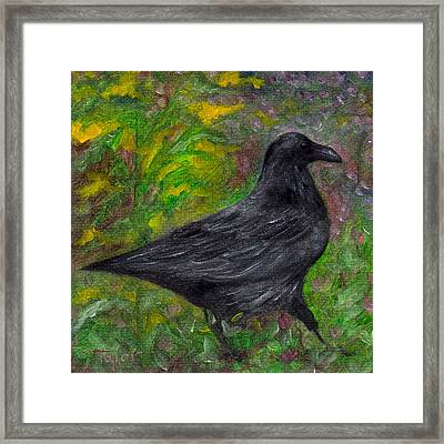 Raven In Goldenrod Framed Print