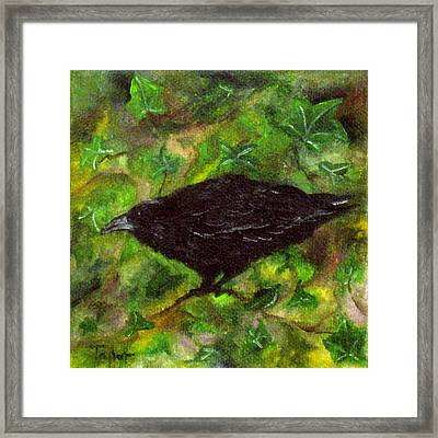 Raven In Ivy Framed Print