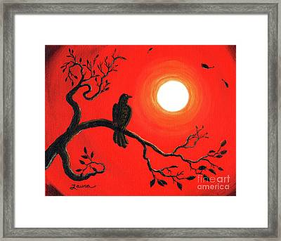 Raven In Red Framed Print by Laura Iverson
