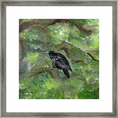 Raven In The Om Tree Framed Print