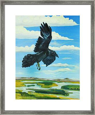 Raven Landing Framed Print by Amy Reisland-Speer