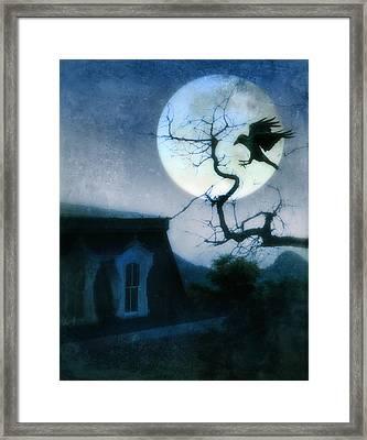 Raven Landing On Branch In Moonlight Framed Print by Jill Battaglia