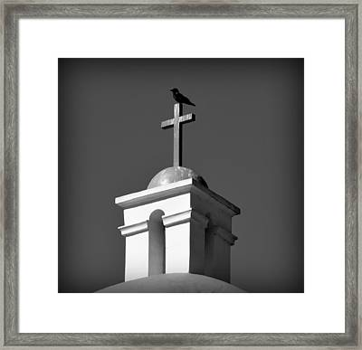 Raven On A Cross Framed Print