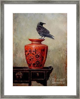 Raven On Red  Framed Print by Lori  McNee
