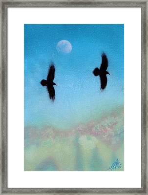 Raven Pair With Diurnal Moon Framed Print