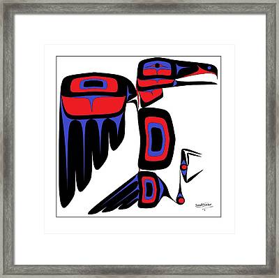 Raven Red And Blue Framed Print